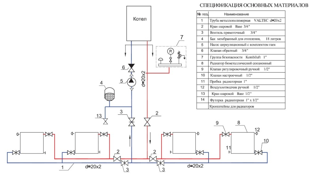 Схема системы отопления дома